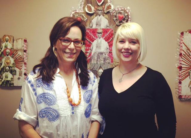 """Actor Jane Kazmerek and  Jessica Kubel Director of the YWCA, at the opening of """"The North Stars: Canonizing the American Abolitionists"""" at the Pasadena branch of the YWCA"""