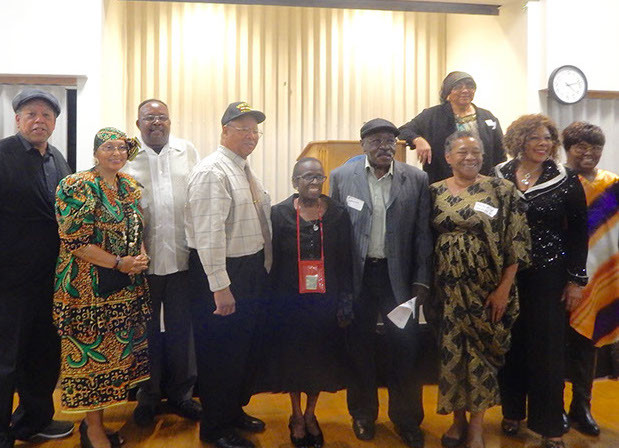 Lovely members of the Monrovia Duarte Black alumni Association including Beverly Haynes, Emelbra Red, and Joannie Yuille.