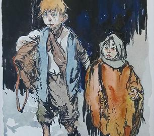 Herman Moerkerk - Twee kinderen gekleed in lompen