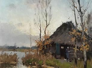 A.J. Zwart - Boerenschuur bij de Nieuwko