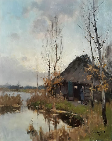 A.J. Zwart - Boerenschuur bij de Nieuwkoopse plassen