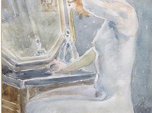 Harry Maas - Zittend vrouwelijk naakt bij spiegel