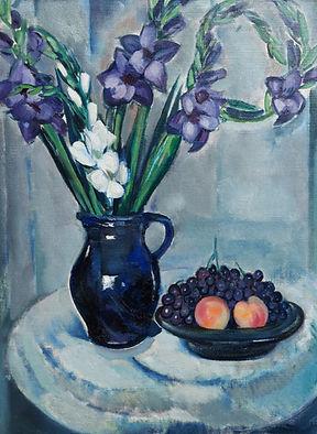 Louis Saalborn - Stilleven van bloemen en fruit