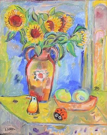 Jehudith Sobel - Zonnebloemen in vaas