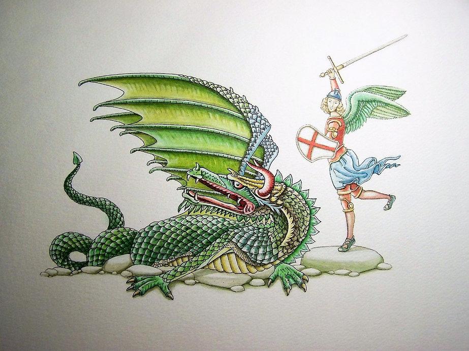 quis ut Deus, par Louis Chiren, saint Michel Archange terrassant le dragon