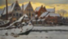 Herman Heuff - De Vissersbocht in Haarlem in winterstemming