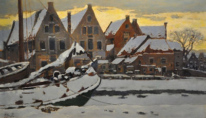Herman Heuff - De Vissersbocht in Haarlem in winterstemming