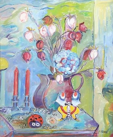Jehudith Sobel - Stilleven van rozen en kaarsen