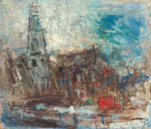 Anton Buytendijk,Amsterdam 1913-2002Amsterdam,'Stadsgezicht, Amsterdam', olieverfop paneel, 106x 122cm.,gesigneerd rechtsonder.