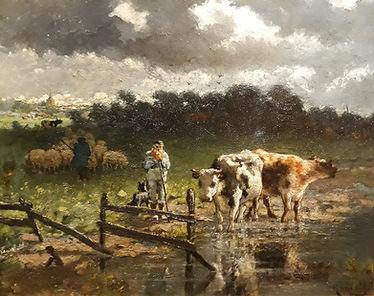 Willem Hamel - Koeien bij een plas