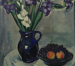 Louis Saalborn - Stilleven van gladiolen en fruit