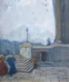 Ko Cossaar - Figuren op de trap bij de National Gallery te Londen