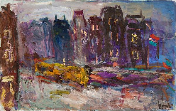Anton Buytendijk,Amsterdam 1913-2002Amsterdam,'Prins Hendrikkade, Amsterdam', olieverfop doek, 50x 80cm.,gesigneerd rechtsonder en niet gedateerd.