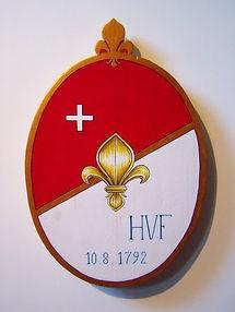 Cartouche de bois peint par Louis Chiren, Helvetiorum Fidei ac Virtuti, gardes Suisses de Louis XVI, monument du lion de Lucerne, journée du 10 août 1792