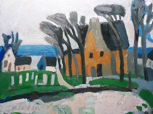 Ed Dukkers - Landschap met geel huis