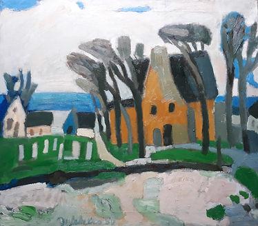 Ed Dukkers- Landschap met geel huis