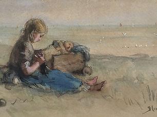 Bernard Blommers - Handwerkend meisje met bolderkar