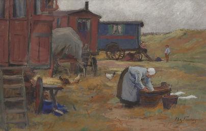 Edgar Farasyn - Wassende vrouw bij woonwagens in de duinen bij Katwijk (NH)