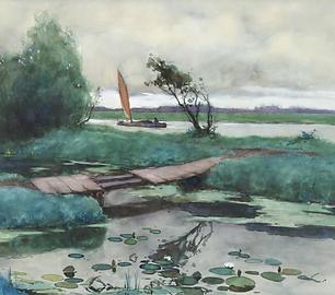 Adriaan Miolée - Rivierlandschap met zeilbootje