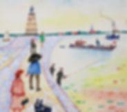 Ferry Slebe - Personen langs het water