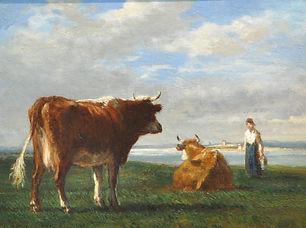 Constant Troyon - Koeienhoedster met veein een Normandischlandschap