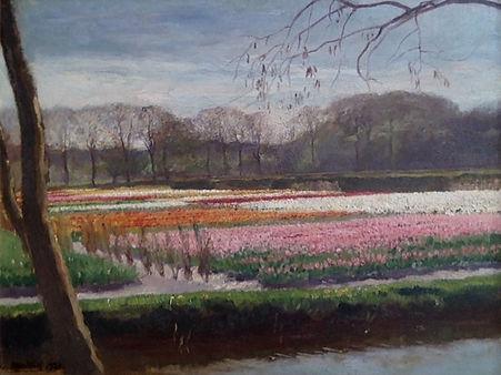 Oscar Mendlik- Bollenvelden aan de Marcelisvaart in Overveen