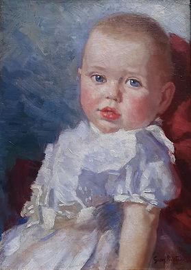 George Rueter - Baby in witte jurk
