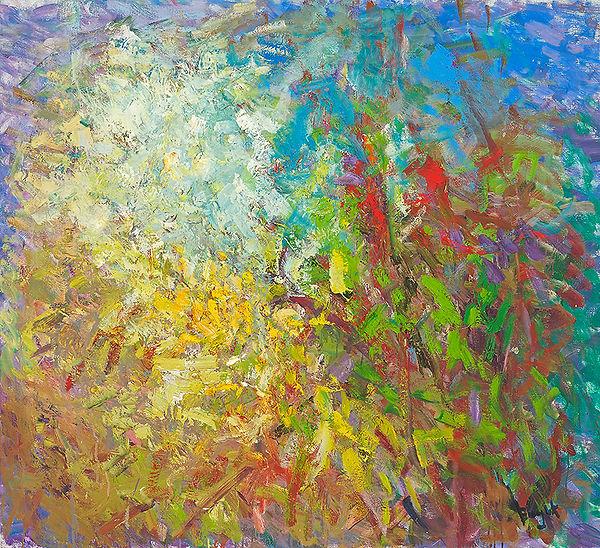 Anton Buytendijk, Amsterdam 1913-2002Amsterdam, 'Struiken in bloei', olieverf op doek, 105x 115cm., gesigneerd rechtsonder.