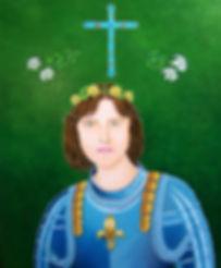 huile sur toile de sainte Jeanne d'Arc par Louis Chiren, la dernière mission de Ste Jeanne d'Arc