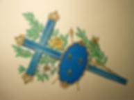 Croix de la triple donation par Louis Chiren, sainte Jeanne d'Arc, Charles VII, Henri V de la Croix
