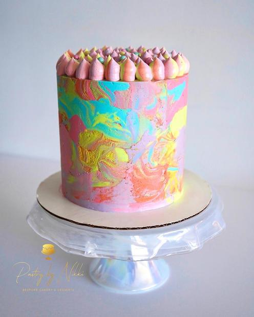 Tie Dye Buttercream Wrap Cake