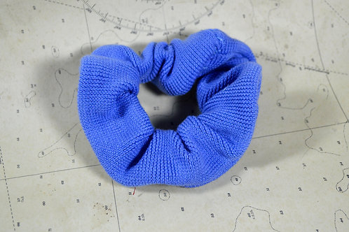 Upcycled Textured Blue Scrunchie