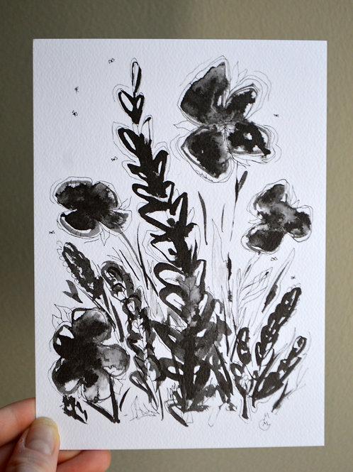 5x7 Ink Flower Print - Weeds