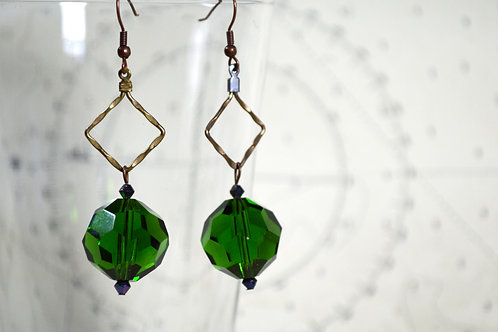 Handmade Green Bead Diamond Earrings