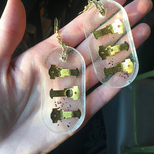Gold Metal Piece and Glitter Earrings