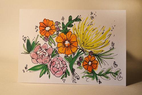 Three Orange Flowers 5x7 Art Print - Single Art Print