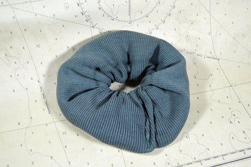 Upcycled Textured Earth Green Scrunchie