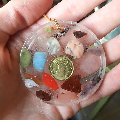 Long Stone and Coin Resin Pendant Necklace