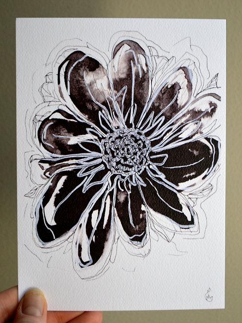 5x7 Ink Flower Print - Single