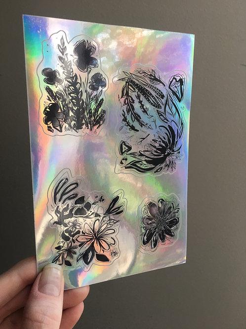 Iridescent Ink Flower Sticker Sheet
