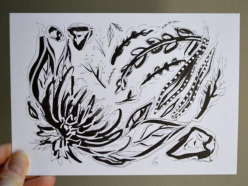 5x7 Ink Flower Print - Mum