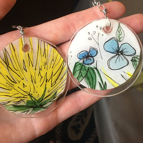Flower Art Resin Earrings