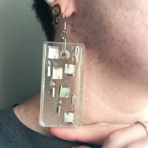 Silver Hardware Upcycle Resin Earrings