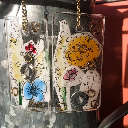 Flower Art Mixed Media Resin Earrings