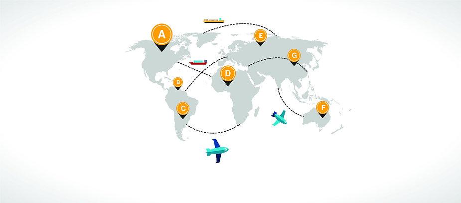mapa do mundo com pontos importantes de transporte logístico
