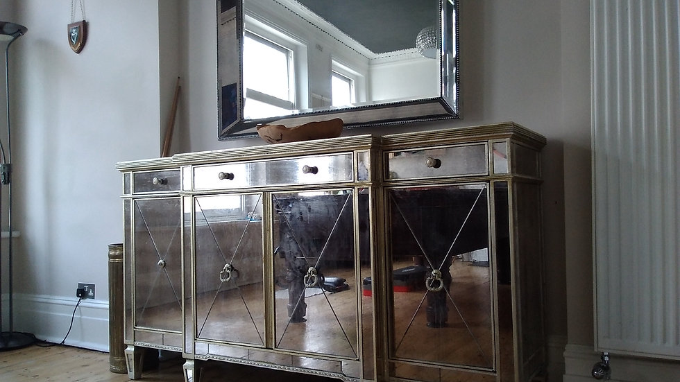 Mirrored Glass Sideboard Cabinet