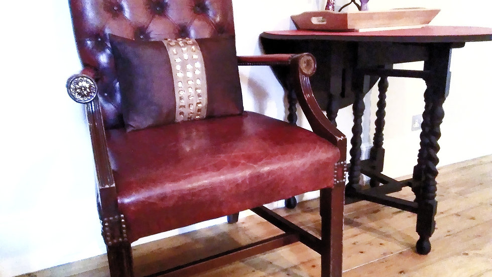 GEORGE III GAINSBOROUGH STYLE CARVER ARMCHAIR LEATHER LIVERY OXBLOOD RED HIDE
