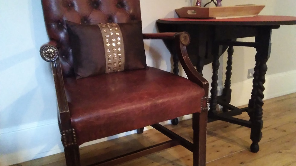 George III Gainsborough style Carver Armchair in oxblood-red colourway