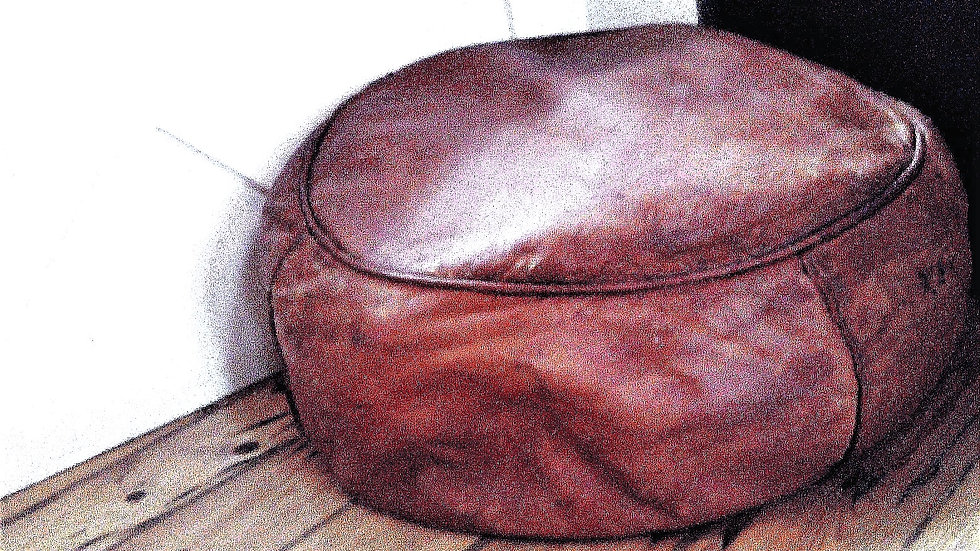 SUPERIOR LEATHER POUFFE  WITH LIVERY TAN HIDE