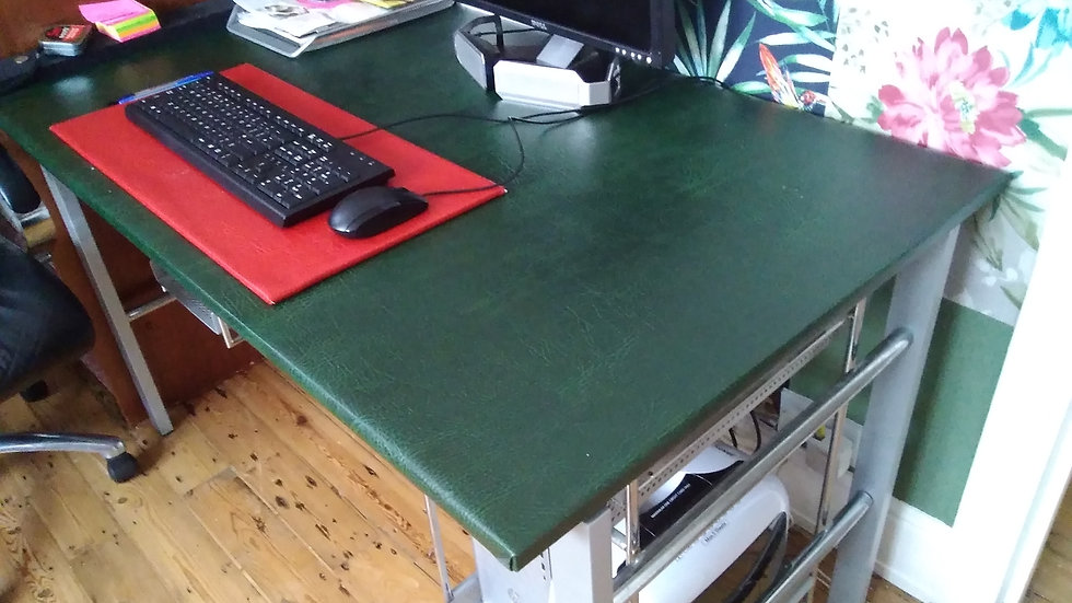 Work Desk Steel base. Choice of upholstered or glass worktop
